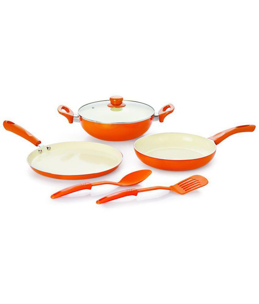 0f5331ec44b NIRLON New Reinforced 4 Layer Ceramic Coating Non-Stick Induction Friendly  6 pieces Gift Combo ...