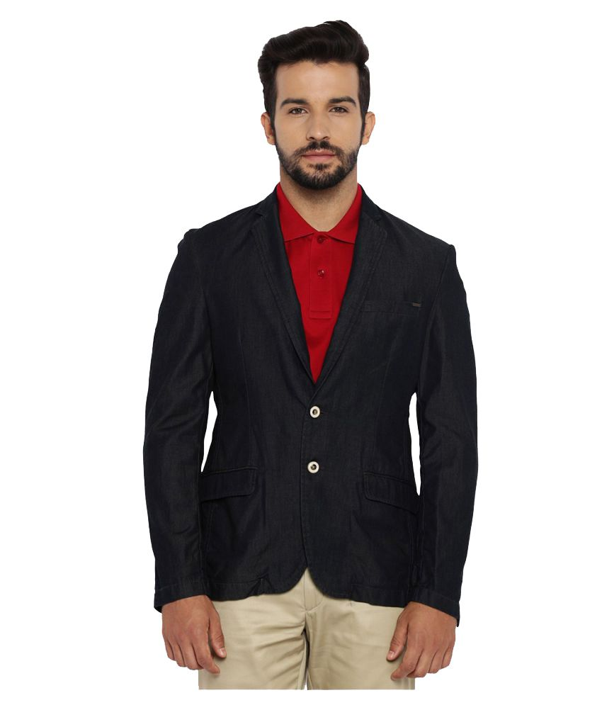 Park Avenue Blue Solid Casual Jackets