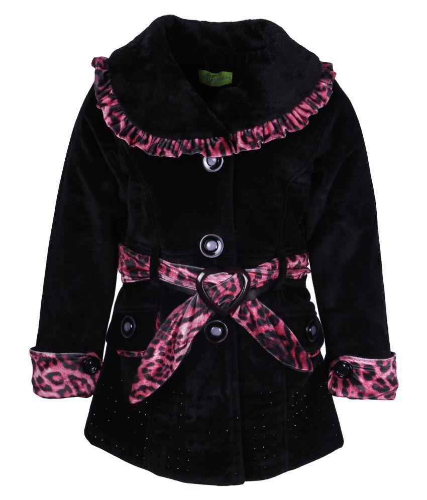 Cutecumber Black Polyester Medium Coats for Girls