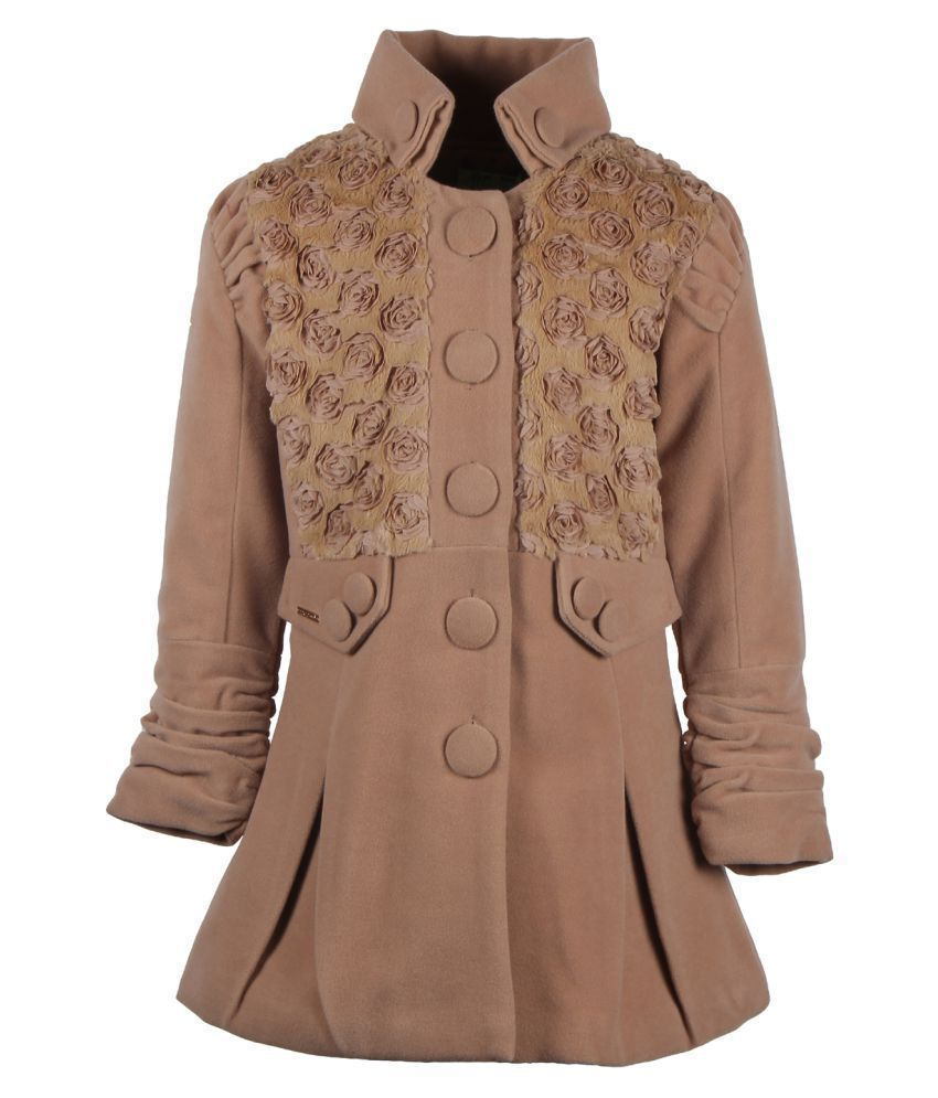 Cutecumber Brown Polyester Medium Coats for Girls