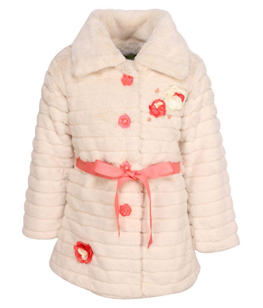 Cutecumber Cream Polyester Medium Coats for Girls