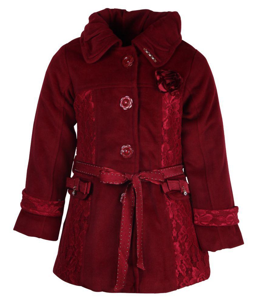 Cutecumber  Partywear Winter  Girls  Maroon Jacket