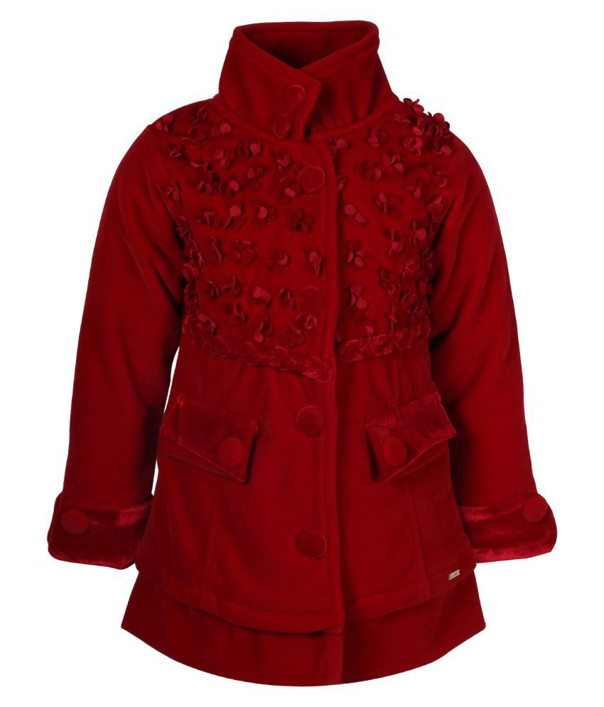 Cutecumber Red Polyester Medium Coats for Girls
