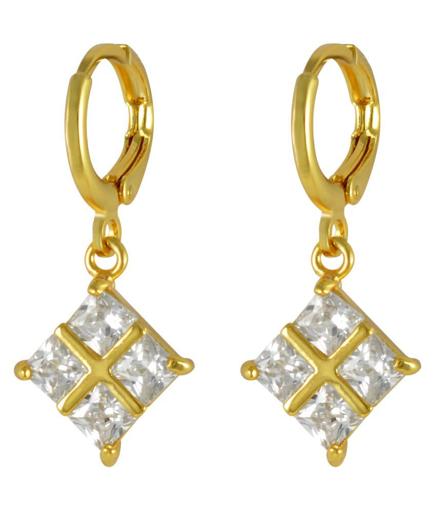 Sarah Rhinestone Geometric Design Golden Drop Earring Single Pair