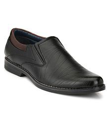 Leeport Black Party Non-Leather Formal Shoes