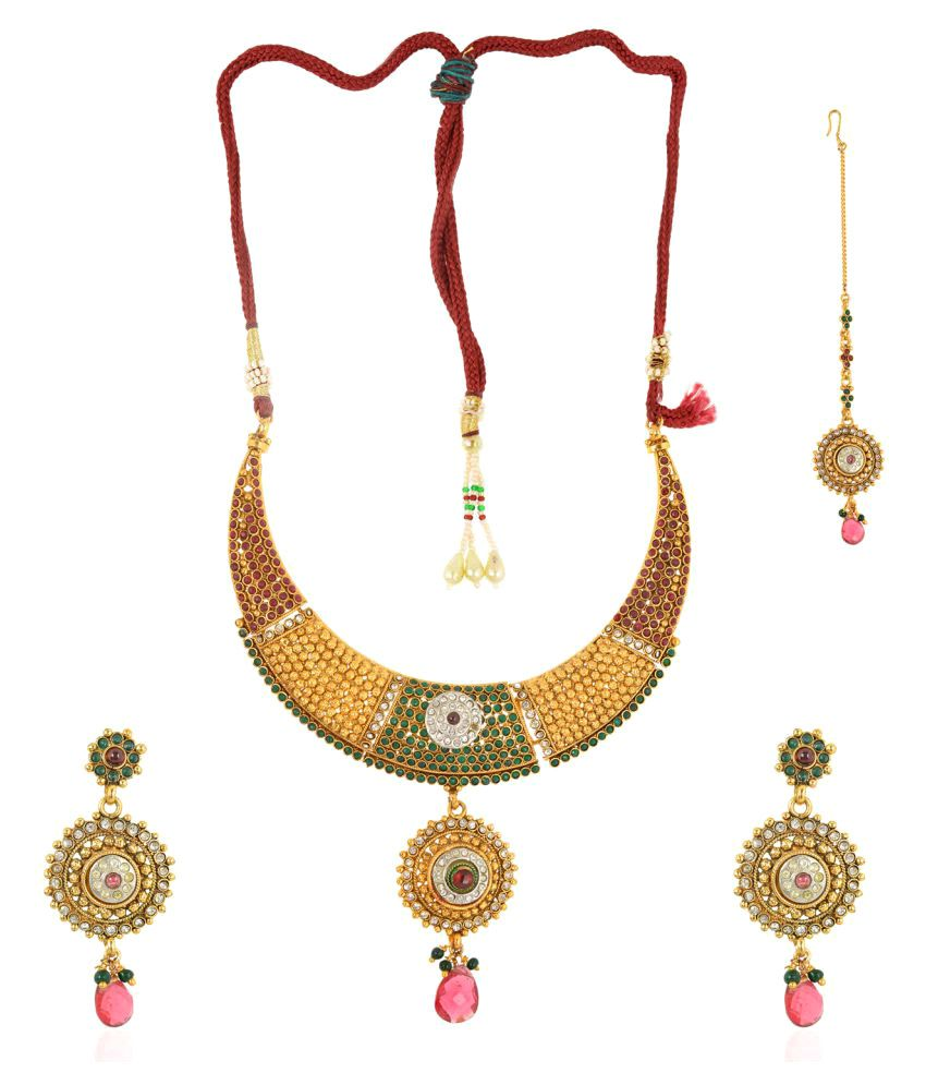 Be You Multi Colour Rhodium Plated Brass Necklace Set With Mang Tikka