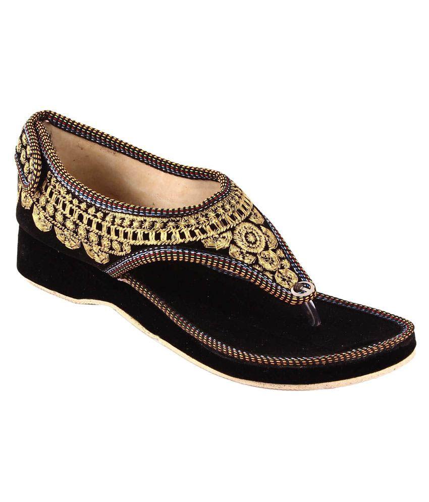 Babesa Black Wedges Heels