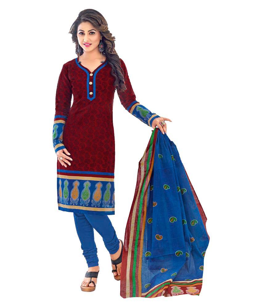 Shree Bhavani Enterprise Maroon Cotton Dress Material