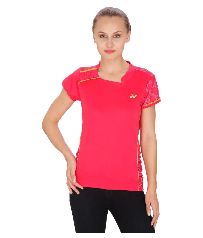 Yonex Pink Polyester T-Shirt