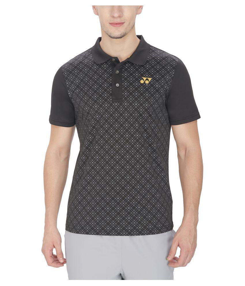 Yonex Black Polyester Polo T-Shirt