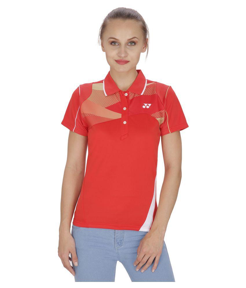 Yonex Red Polyester Polo T Shirts