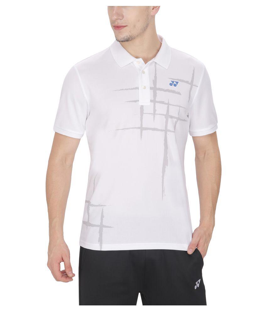 Yonex White Polyester Polo T Shirts