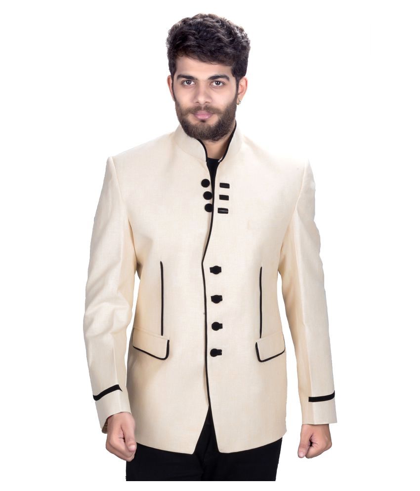 Mark Estilo Off-White Plain Party Jackets