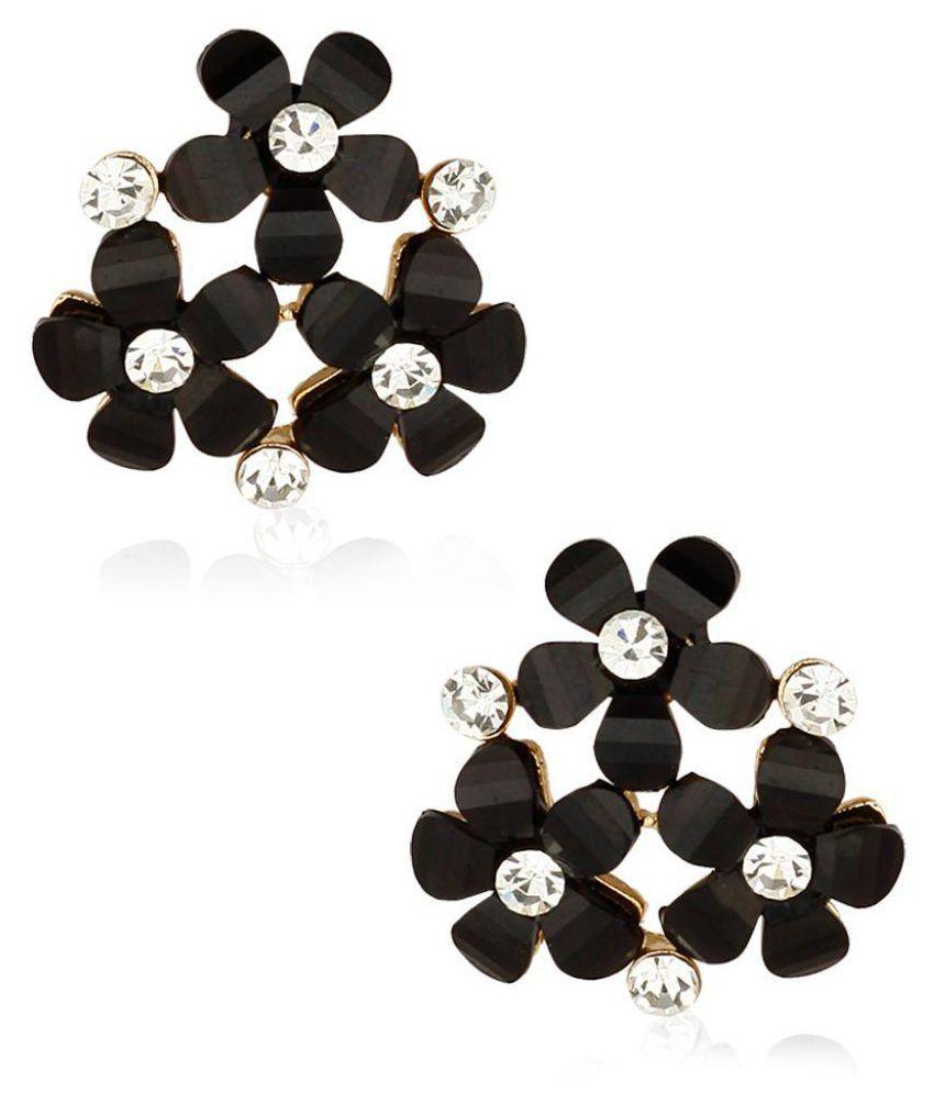 Jewels Galaxy Black Alloy Studs Earrings