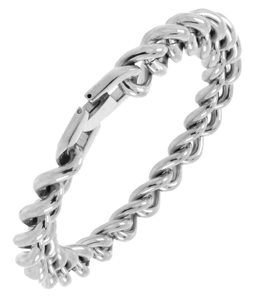 The Jewelbox Silver Stainless Steel Bracelet