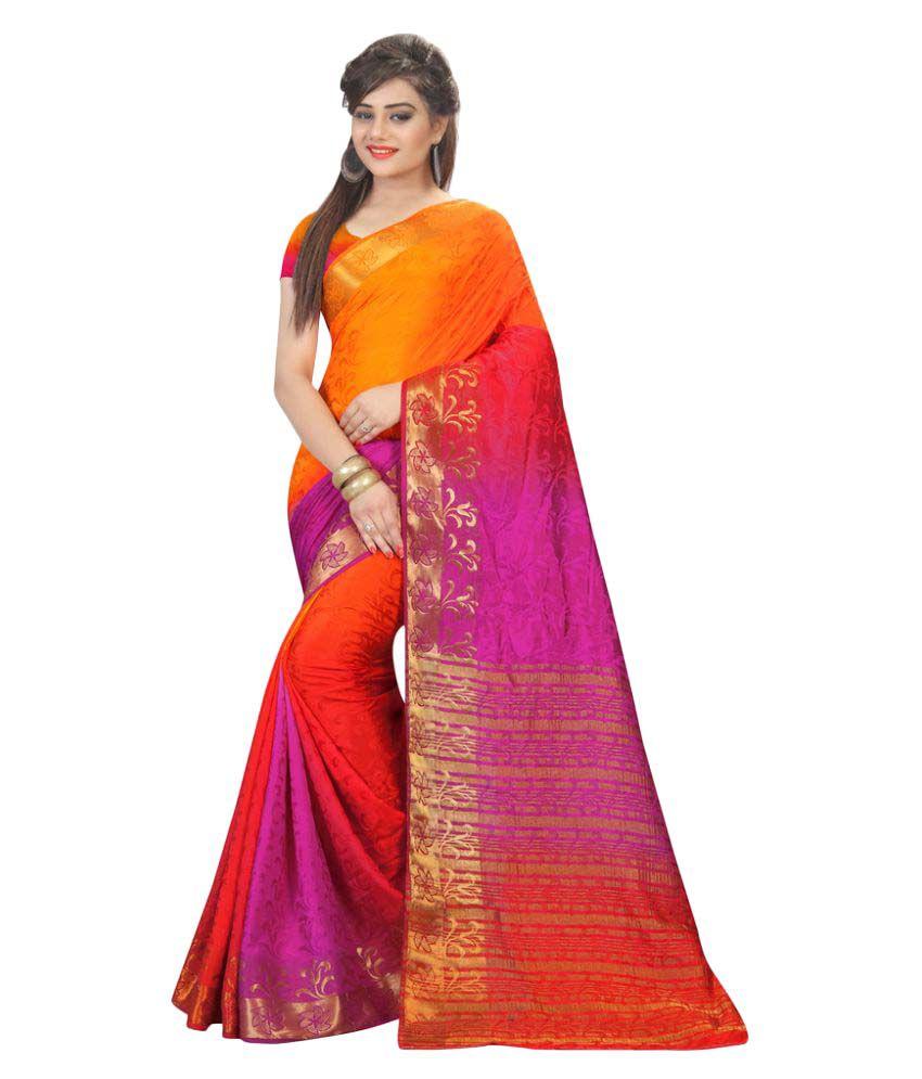 Well Tex Multicoloured Banarasi Silk Saree