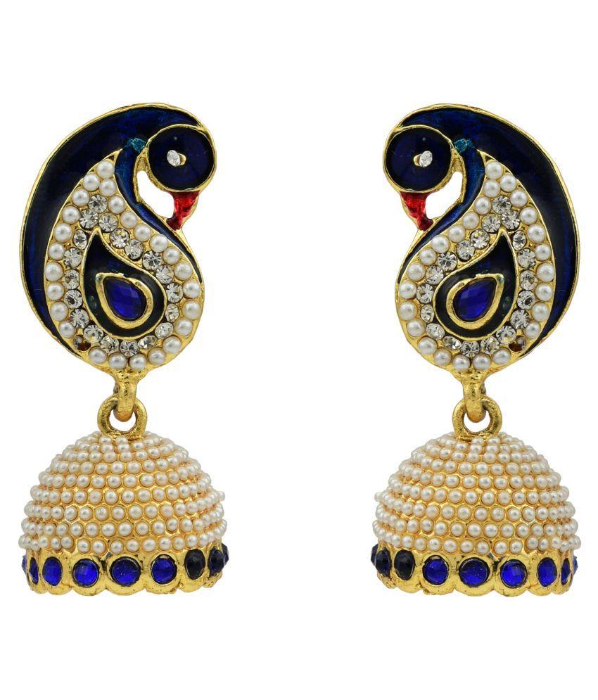 High Trendz Multicolour Jhumki Gold Plated Traditonal Ethinic Peacock Shaped Pearl Single Pair Earring For Women & Girls