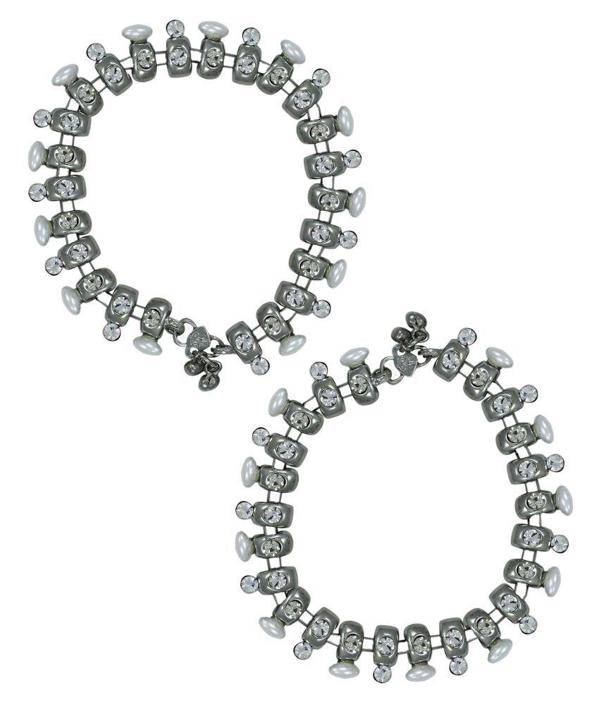 Zaveri Pearls Silver Anklets
