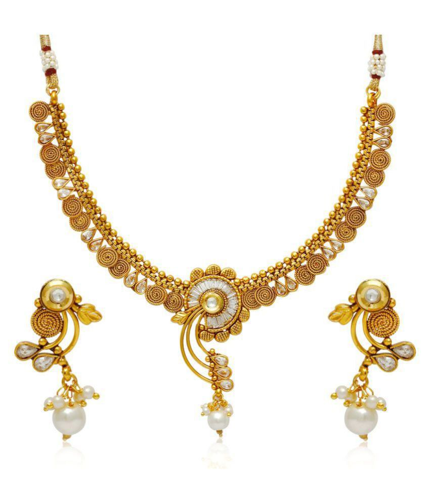 Jewels Galaxy Golden Alloy Bridal Traditional Wedding Necklace Set