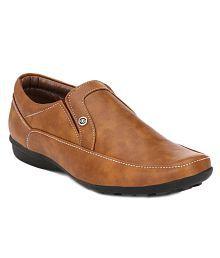 John Karsun Tan Slip On Artificial Leather Formal Shoes