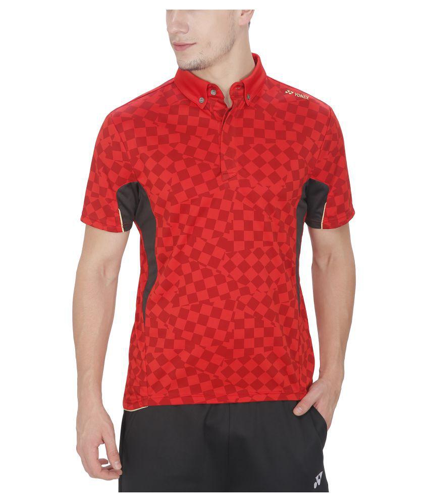 Yonex Badminton Red T-Shirt for Men