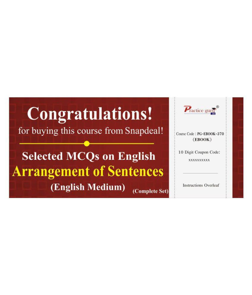 Selected MCQs on English - Arrangement of Sentences (Complete Set) License/Redemption Code - Online