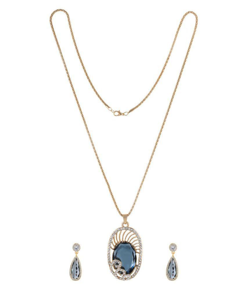 One Stop Fashion Gold Grey Stone Pendant with Earrings and Chain
