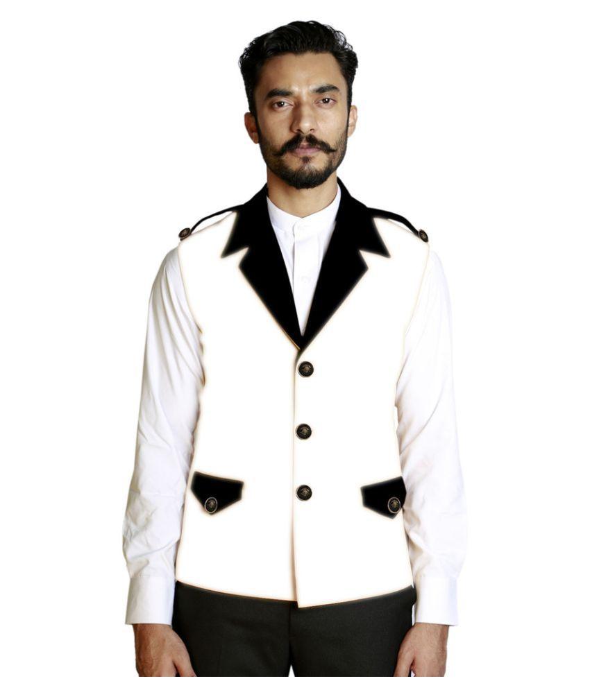 Fusion & Threads White Plain Casual Waistcoats