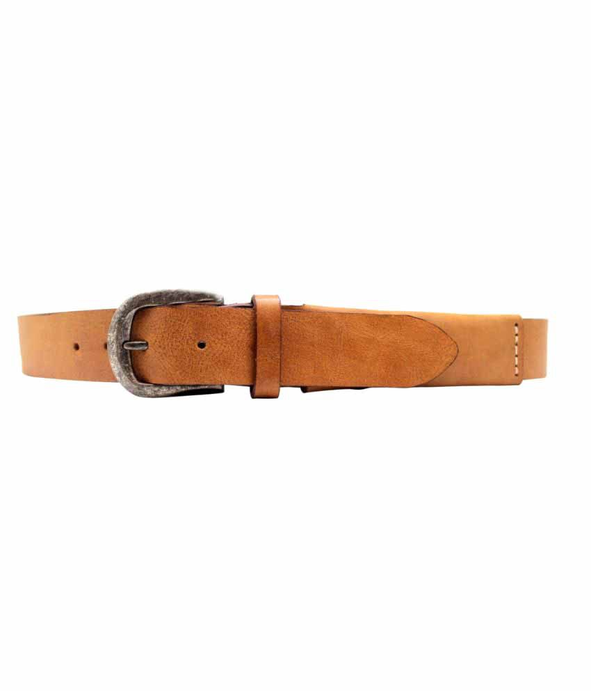 Urban Vintage Beige Leather Casual Belts