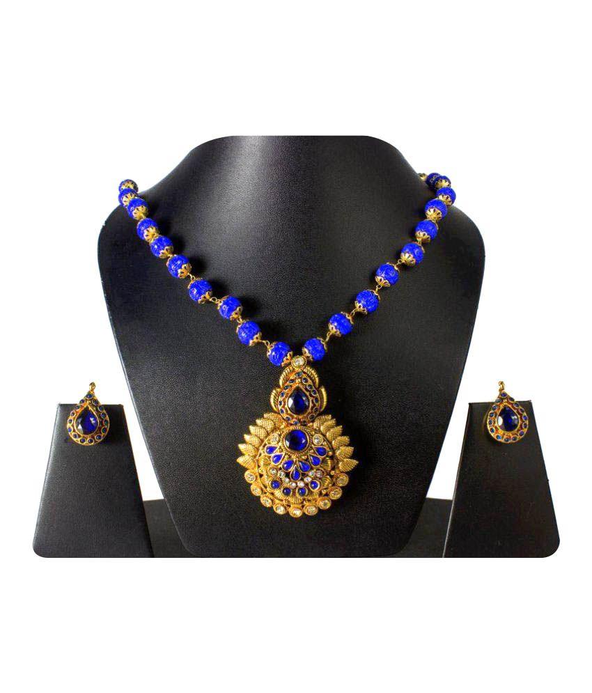 Tandra's Fashion Jewellery Multicolour Polki Necklace Set