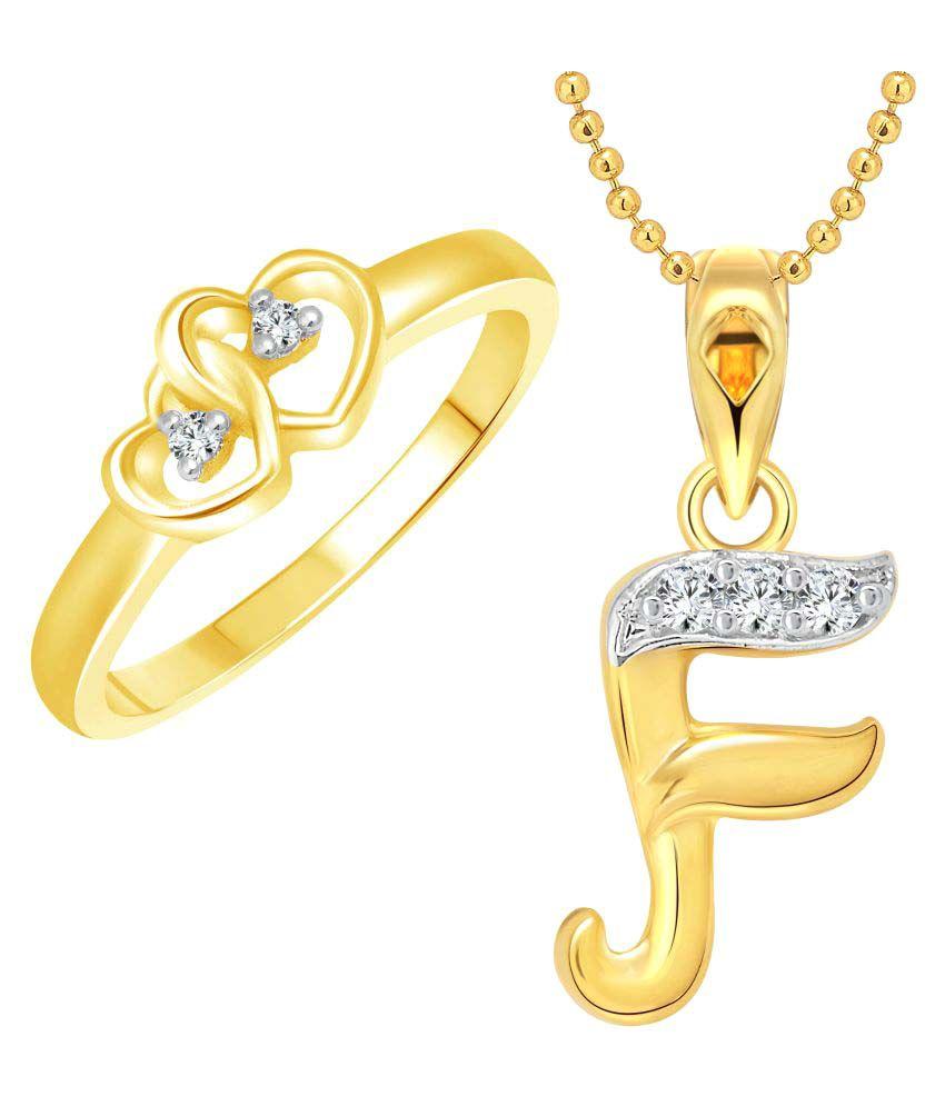 Vighnaharta Golden Dual Heart Ring With Pendant