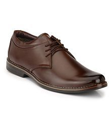 Leeport Brown Derby Artificial Leather Formal Shoes