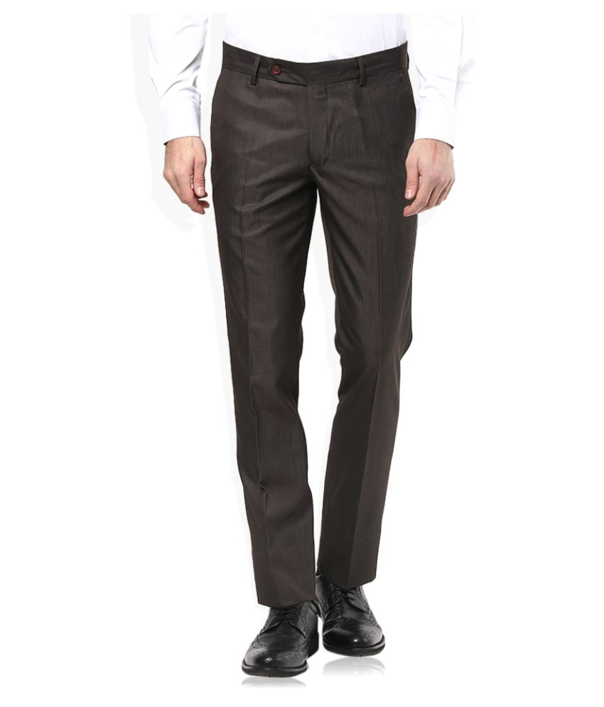 John Players Black Slim Flat Trousers