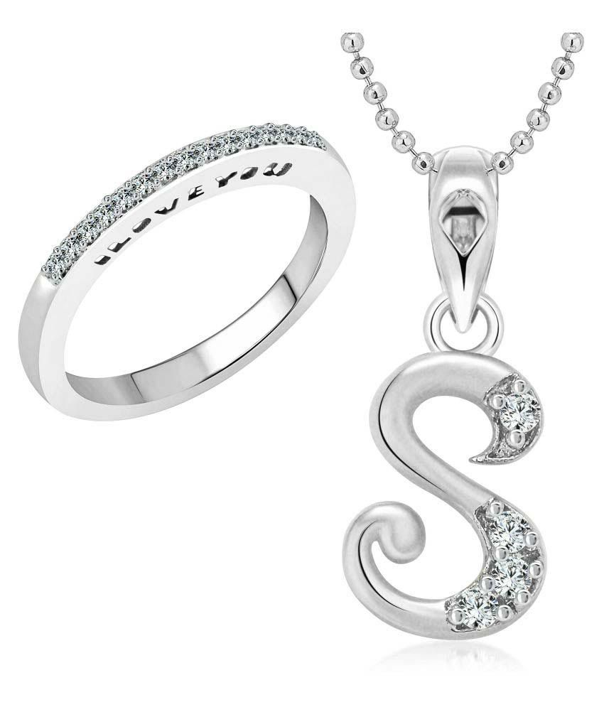 Vighnaharta Silver Alloy Love Ring With Pendant