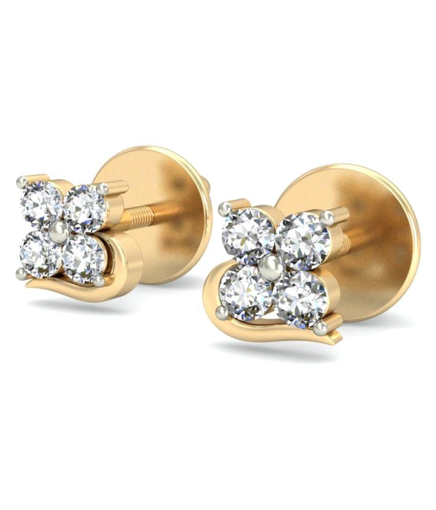 Gold24 14k Yellow Gold Diamond Studs
