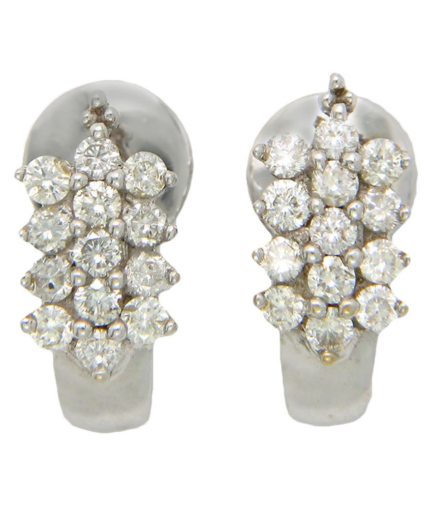 Popleys 18k White Gold Diamond Studs