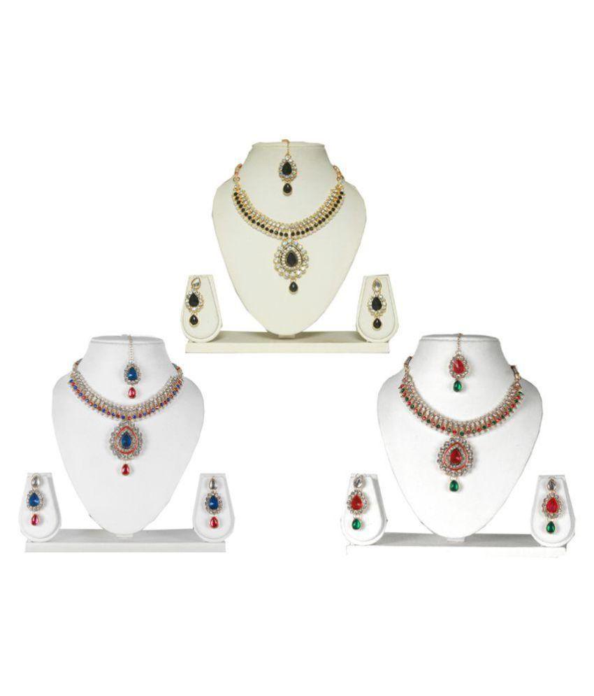 Supershop Multicolour Alloy Necklace Set - Set of 3