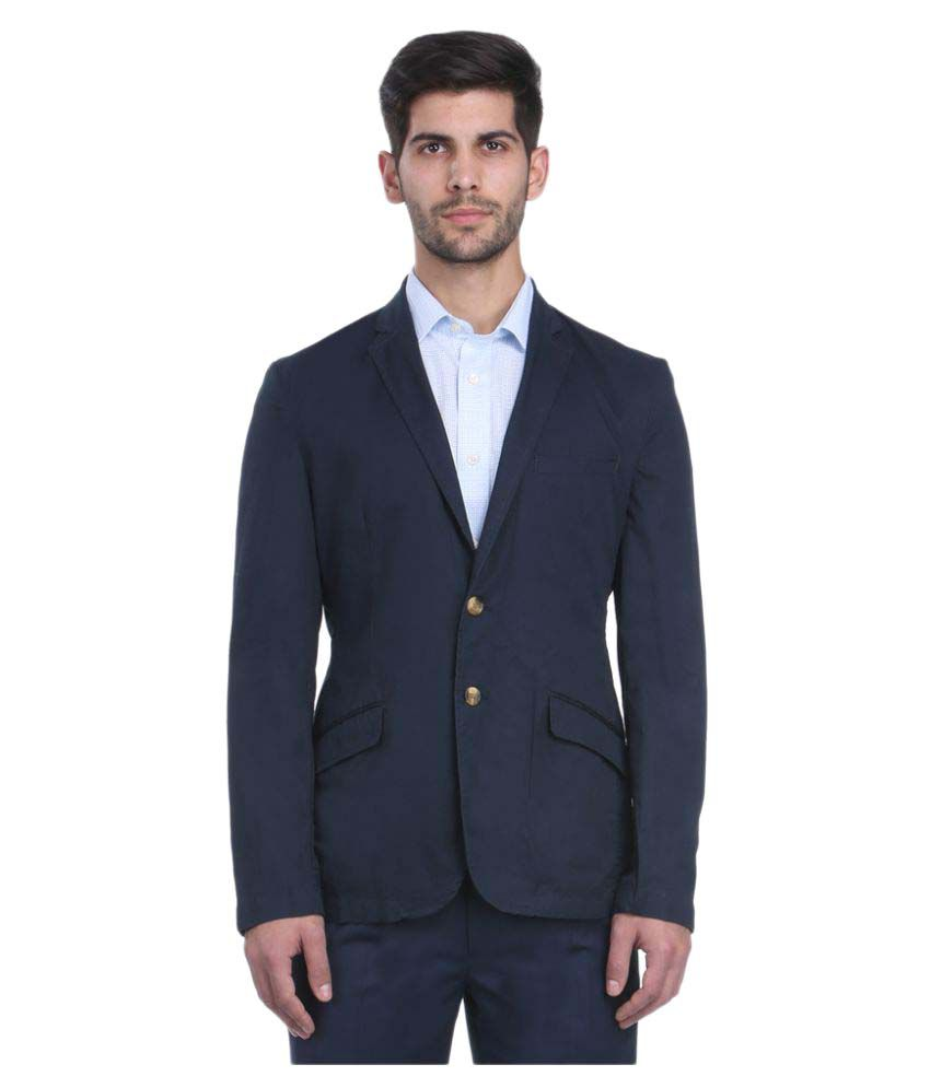 Park Avenue Blue Solid Formal Blazers