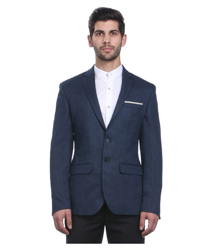 Park Avenue Blue Solid Formal Jackets