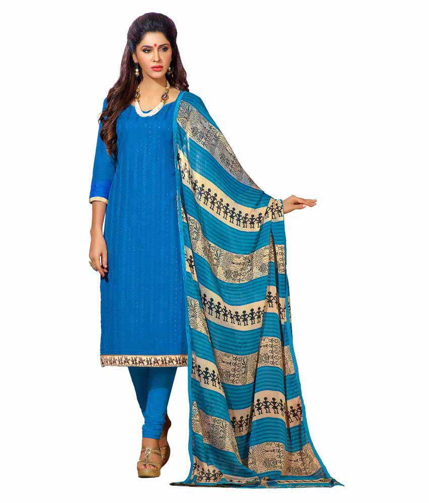 Maroosh Blue Cotton Blend Dress Material