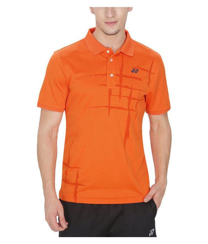 Yonex Orange Polyester Polo T-Shirt Single Pack