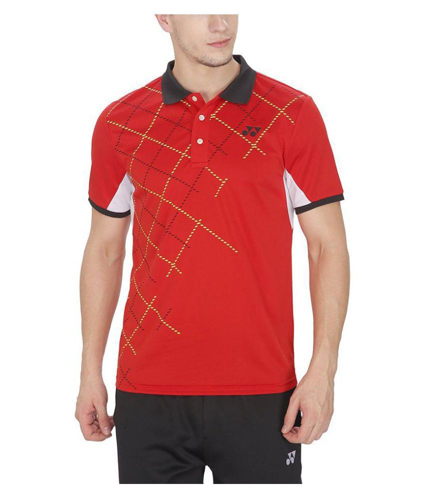 Yonex Red Polyester Polo T-Shirt Single Pack