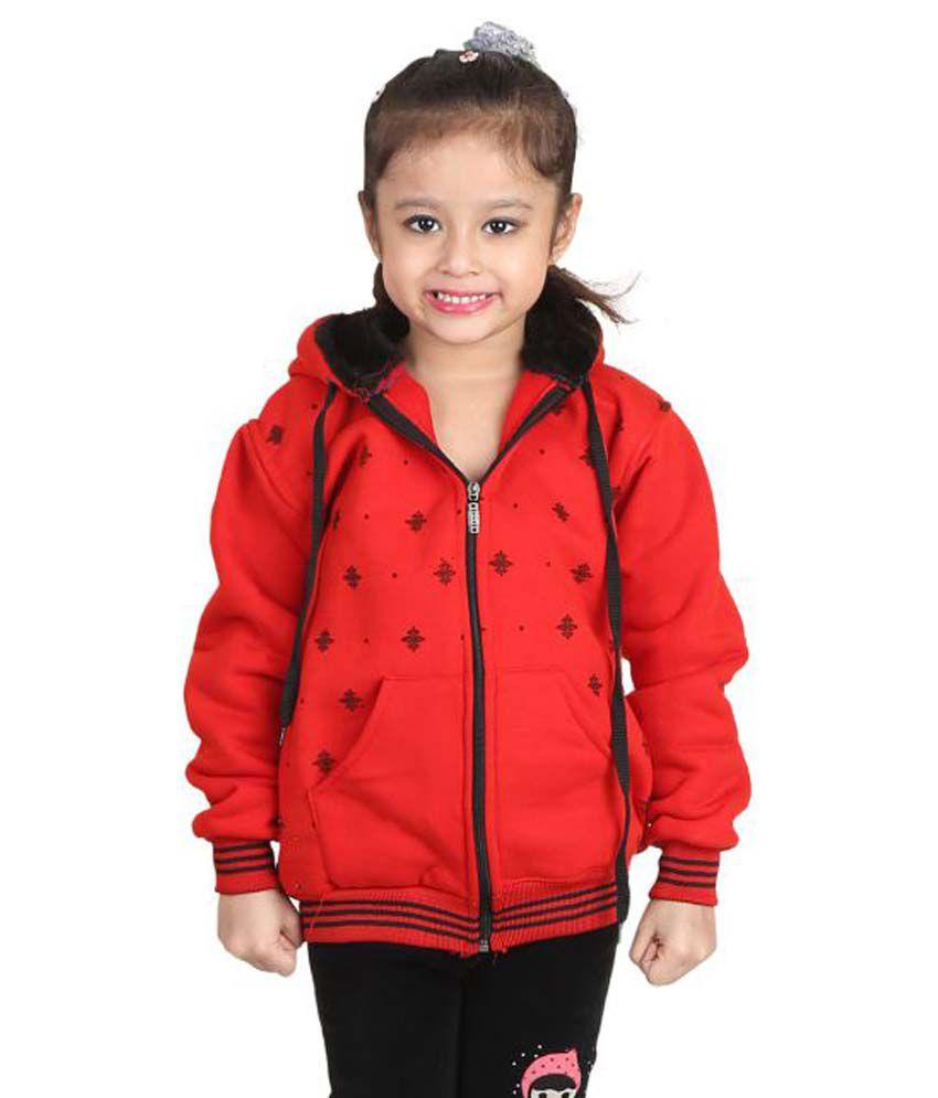 Crazies Red Woolen Light Weight Jacket Of Girl's