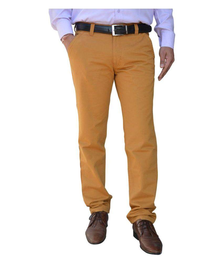 Color Castle Tan Regular Flat Trousers