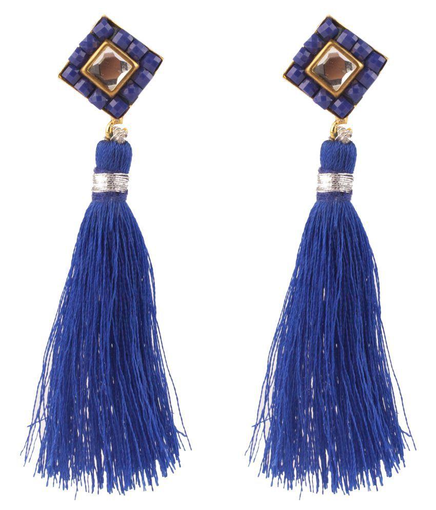 Makezak Blue Brass Hanging Earrings