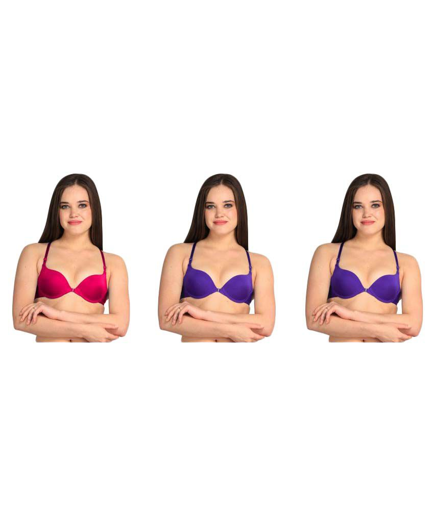 Bahucharaji Creation Multi Color Nylon Push Up Bra