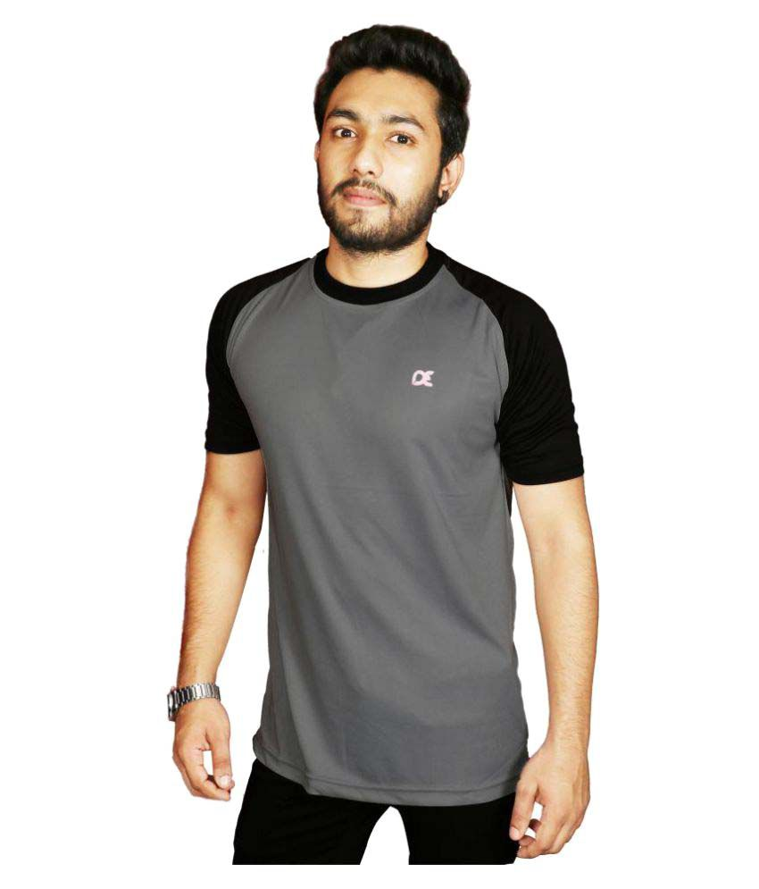 Dyed Colours Grey Cotton Lycra T-Shirt Single Pack