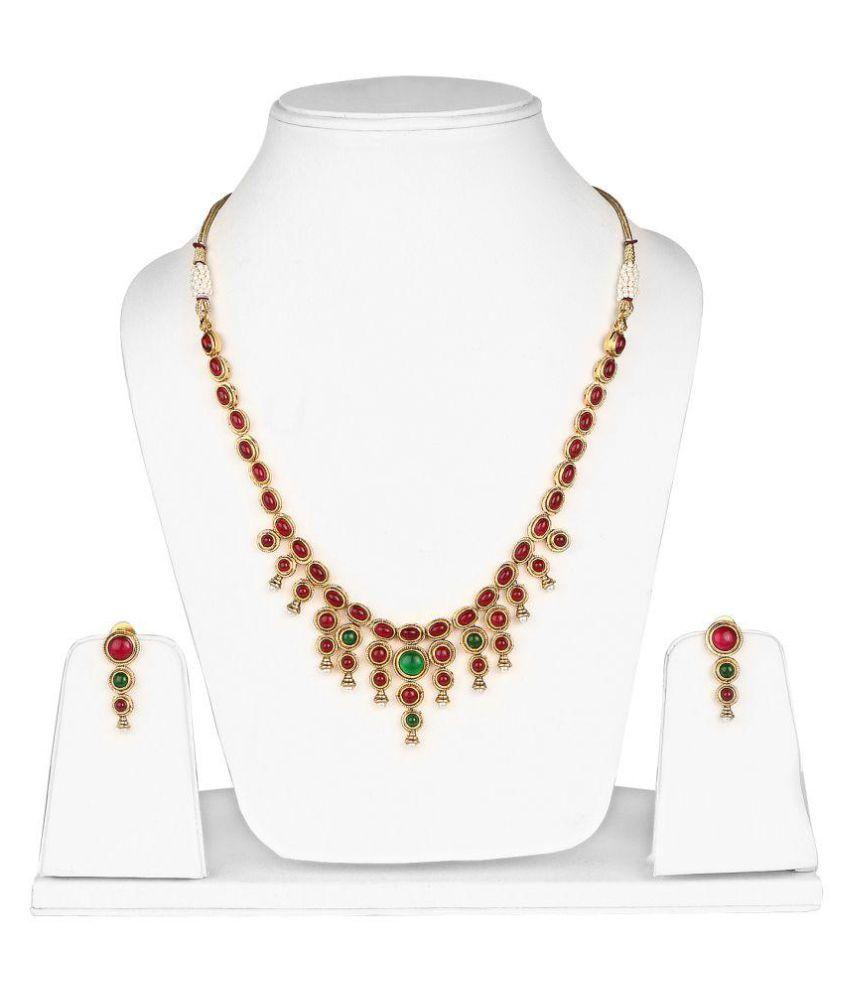 Johareez Multi Brass Necklace Set for Women