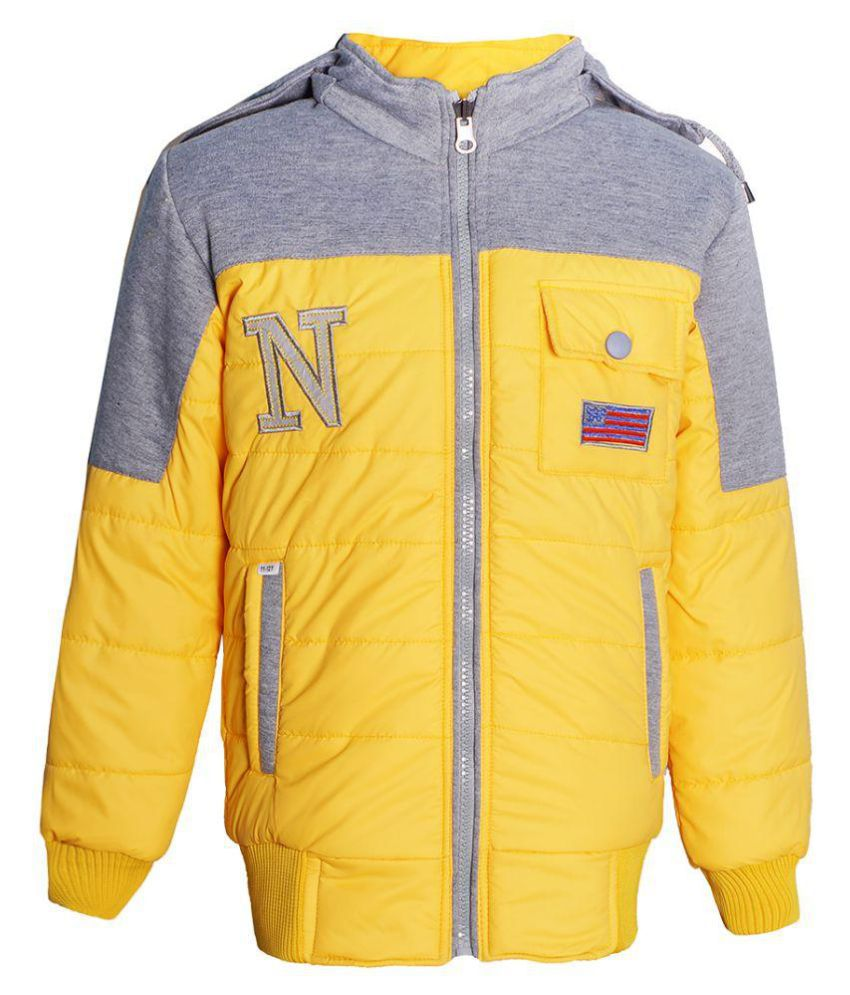 naughty ninos Girls Yellow & Grey Hooded Reversible Bomber Jacket