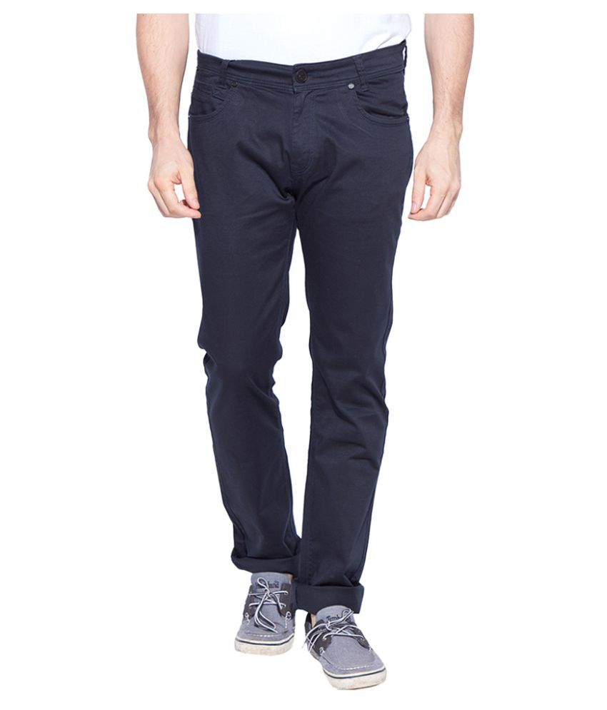 Mufti Navy Blue Slim Flat Trouser